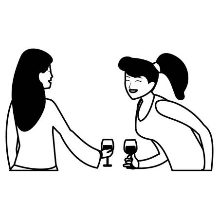 cartoon two women enjoying wine over white background, vector illustration