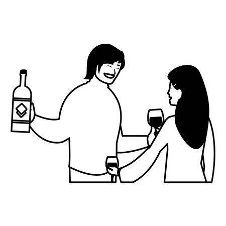 cartoon happy couple over white background, vector illustration