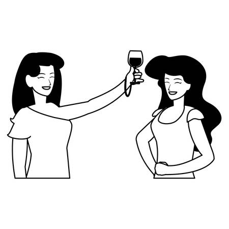 cartoon women enjoying wine glass over white background, vector illustration