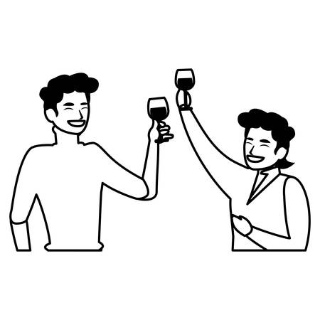 cartoon men having fun time with alcohol drinks over white background, vector illustration