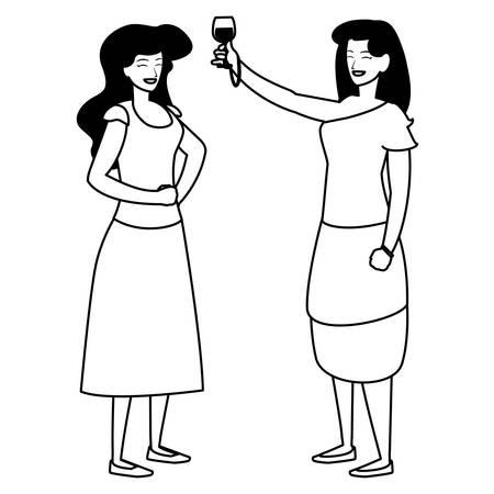 Dibujos animados de dos mujeres disfrutando del vino sobre fondo blanco, ilustración vectorial