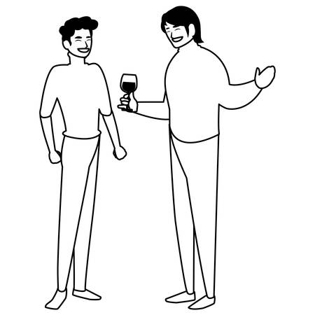 Two men enjoying wine over white background, vector illustration
