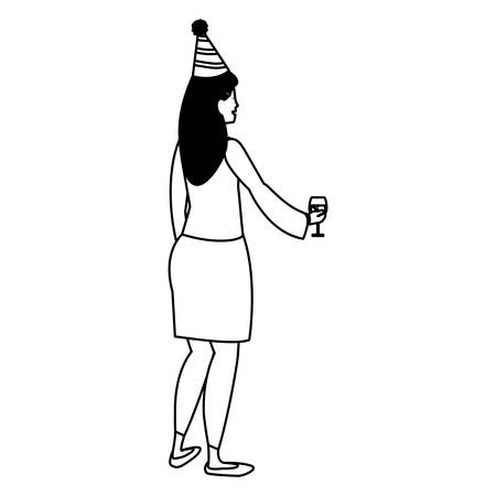 Cartoon woman with a party hat and holding a wine glass over white background, vector illustration Ilustração