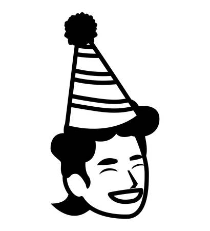happy man with party hat over white background, vector illustration Illustration
