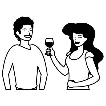 cartoon happy couple having a fun time over white background, vector illustration