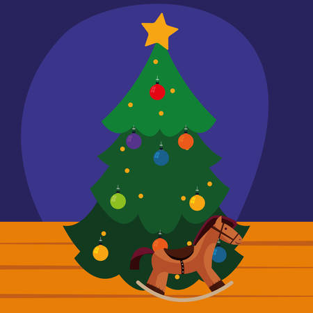 Christmas tree and wooden horse over purple background, vector illustration  イラスト・ベクター素材