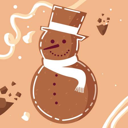 cartoon snowman icon over orange background, vector illustration
