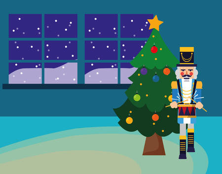 Christmas tree and nutcracker over window and blue background, vector illustration