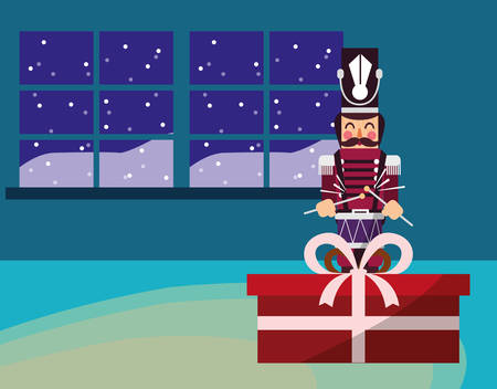 Nutcracker and gift box over window and blue  background, vector illustration Illustration