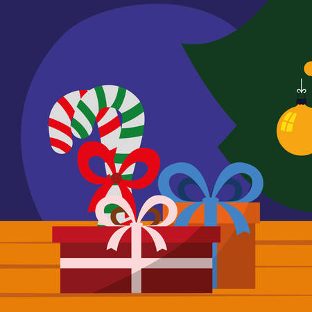 gift boxes and candy canes over background, colorful design. vector illustration 일러스트