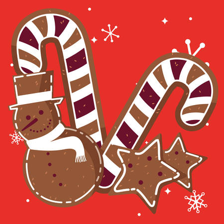 candy canes and star and snowman cookies over red background, vector illustration Zdjęcie Seryjne - 127554845