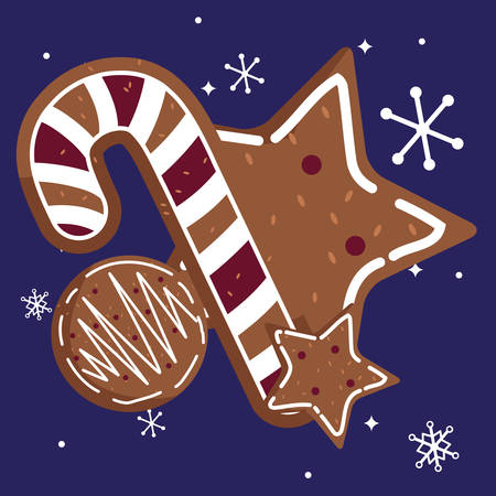 candy canes and stars cookies over blue  background, vector illustration