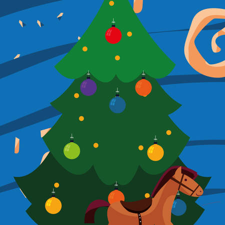 Christmas tree and wooden horse over blue background, vector illustration