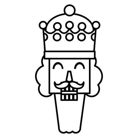 Christmas nutcracker face icon over white background, vector illustration Illustration