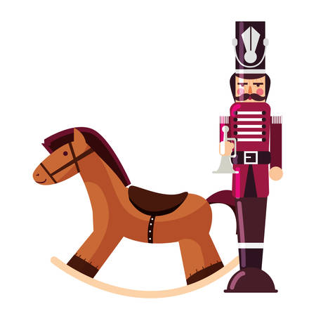 Wooden horse and nutcracker icon over white background, vector illustration