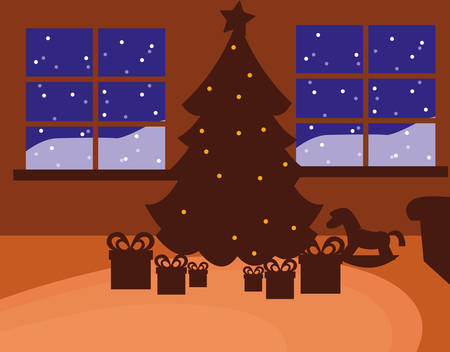 silhouette of Christmas tree with gift boxes over windows and orange background, vector illustration