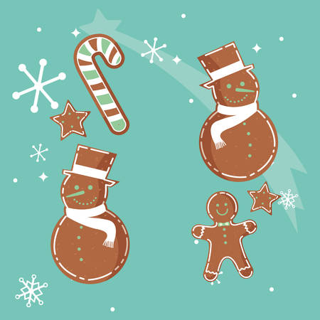 christmas cookies over blue background, vector illustration