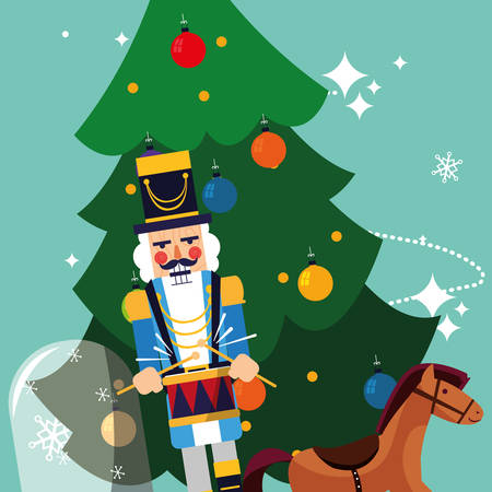 Christmas tree with wooden horse and nutcracker over blue background, vector illustration  イラスト・ベクター素材