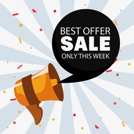 offer saturday sale bubble megaphone stripes background vector illustration