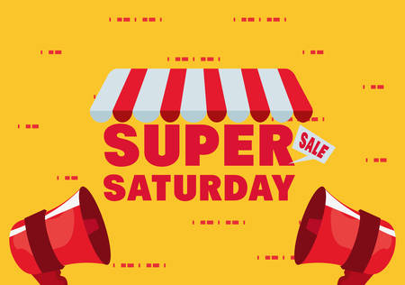 super saturday sale store megaphones vector illustration