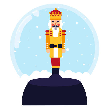 snowball with nutcracker icon over white background, colorful design. vector illustration