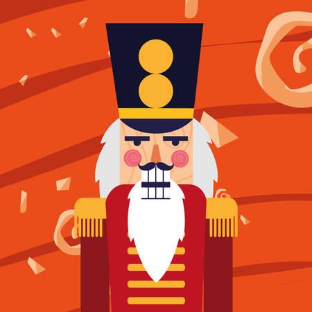 Christmas nutcracker icon over orange  background, colorful design,  vector illustration Banque d'images - 112422299