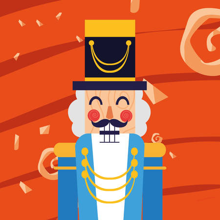 Christmas nutcracker icon over orange  background, colorful design,  vector illustration