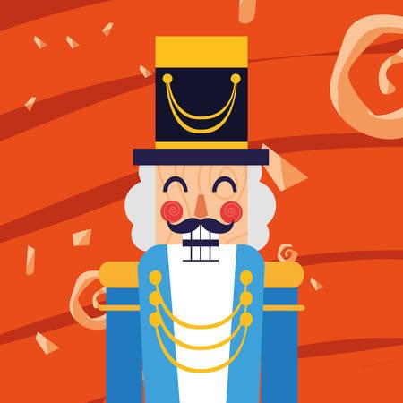 Christmas nutcracker icon over orange  background, colorful design,  vector illustration