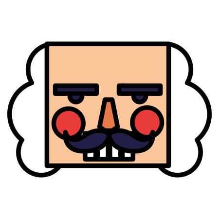 nutcracker face icon over white background, vector illustration