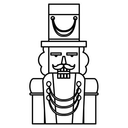 Christmas nutcracker icon over white background, vector illustration Illustration