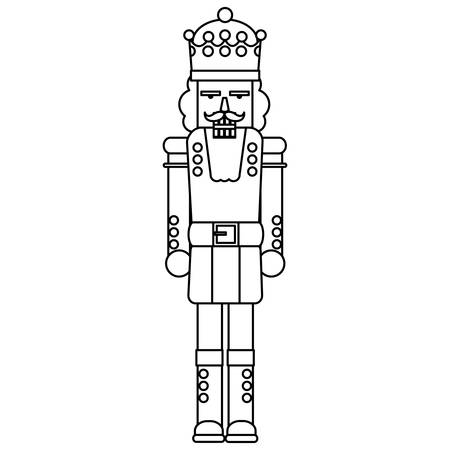 nutcracker toy icon over white background, vector illustration