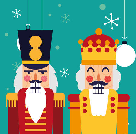 nutcrackers toys over background, colorful design, vector illustration Ilustração