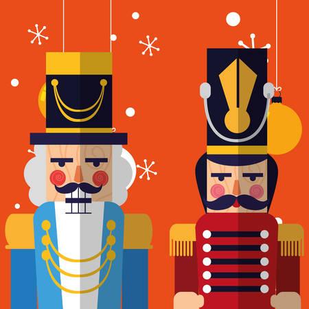 nutcrackers toys over orange background, colorful design, vector illustration