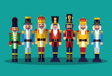 nutcrackers toys over background, colorful design, vector illustration