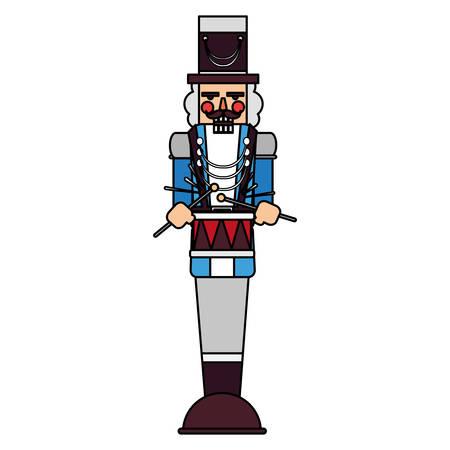 nutcracker toy icon over white background, vector illustration
