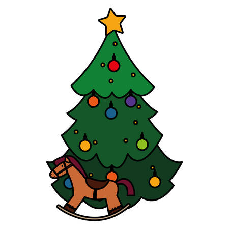 Christmas tree and wooden horse over white  background, vector illustration