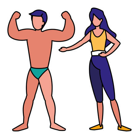 young couple practicing exercice vector illustration design
