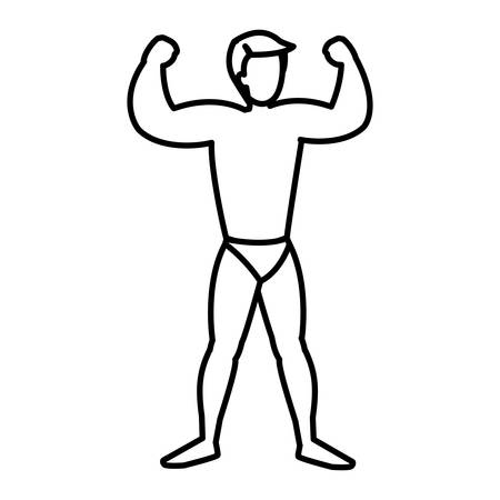 strong man with swimsuit vector illustration design
