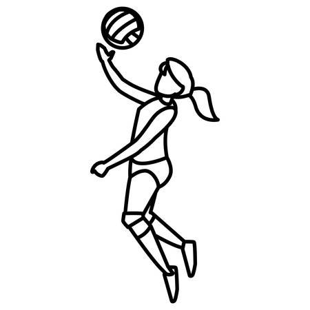 young woman playing volleyball vector illustration design