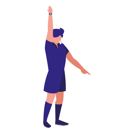 soccer referee blowing the whistle over white background, vector illustration Illustration