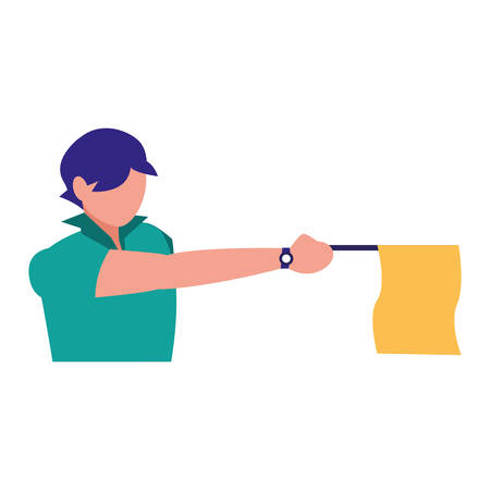 avatar soccer line referee showing the flag over white background, vector illustration Ilustração