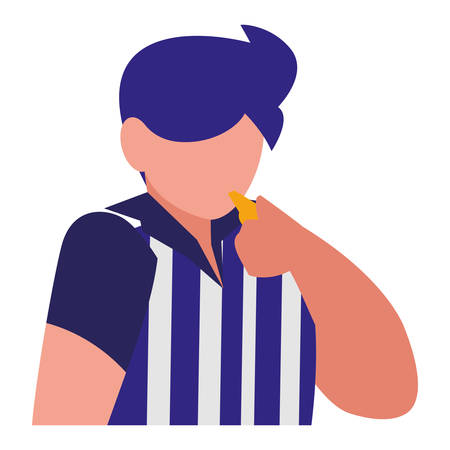 avatar soccer referee blowing the whistle over white background, vector illustration