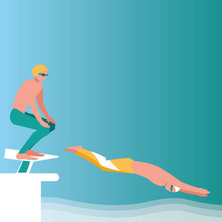 young swimmers over blue background, vector illustration
