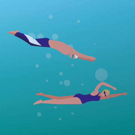 man and woman swimming over blue background, vector illustration