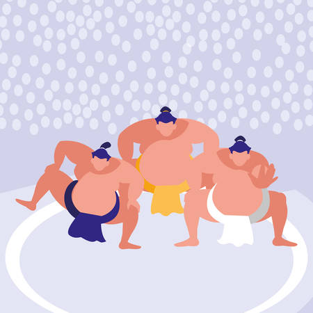 sumo wrestlers icon over purple background, colorful design. vector illustration