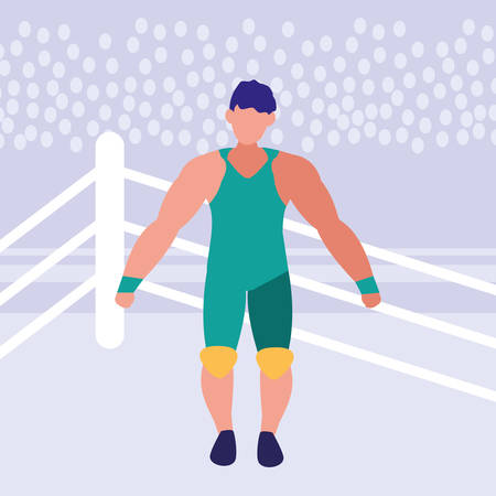 avatar wreslter man in the ring over purple background, vector illustration