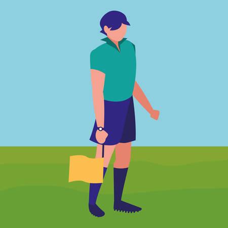 avatar soccer line referee with the flag over white background, vector illustration Illustration