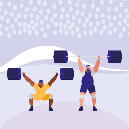 weightlifters with weights over purple background, colorful design. vector illustration Stock Illustratie