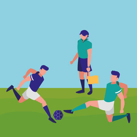 avatar soccer line referee and players playing over field  background, vector illustration