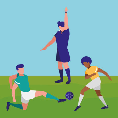 avatar soccer referee and players playing over field background, vector illustration
